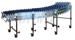 DH500 conveyor - 5 plastic skate wheels, extensible 1,98-7,36 m