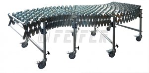 DH500 conveyor - 5 steel skate wheels, extensible 1,16 - 4,24m