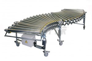 DH - driven extensible roller conveyor 800mm, track=2250-4950 mm